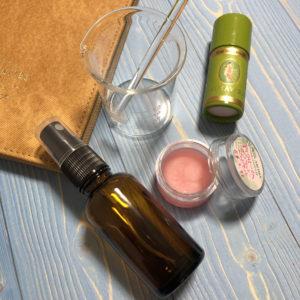 ピンクのアイクリームと化粧水